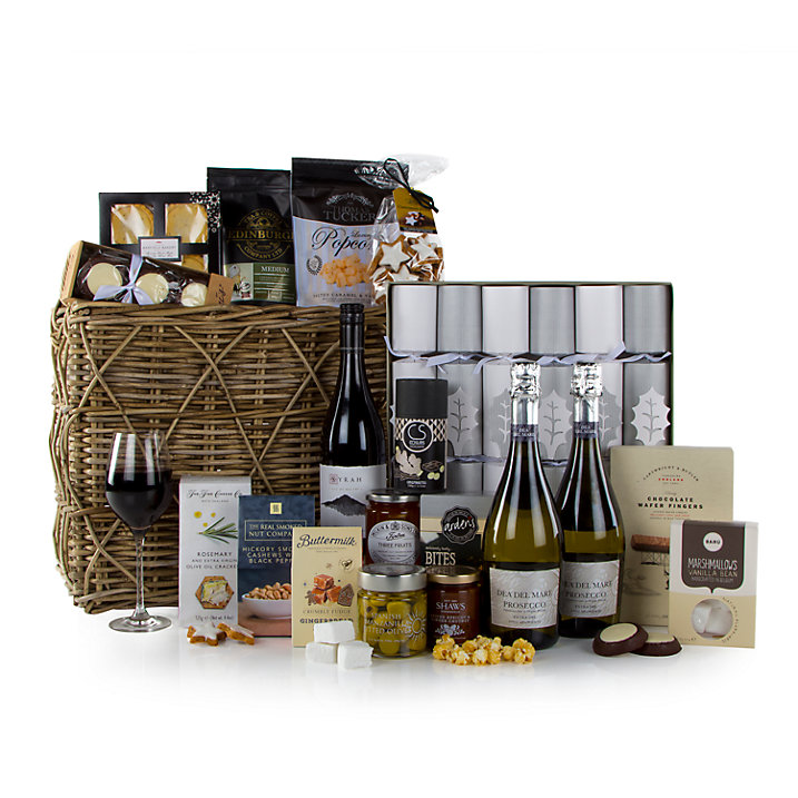 Contents of the hamper prize includes bottles of wine, Christmas crackers, festive foods and treats