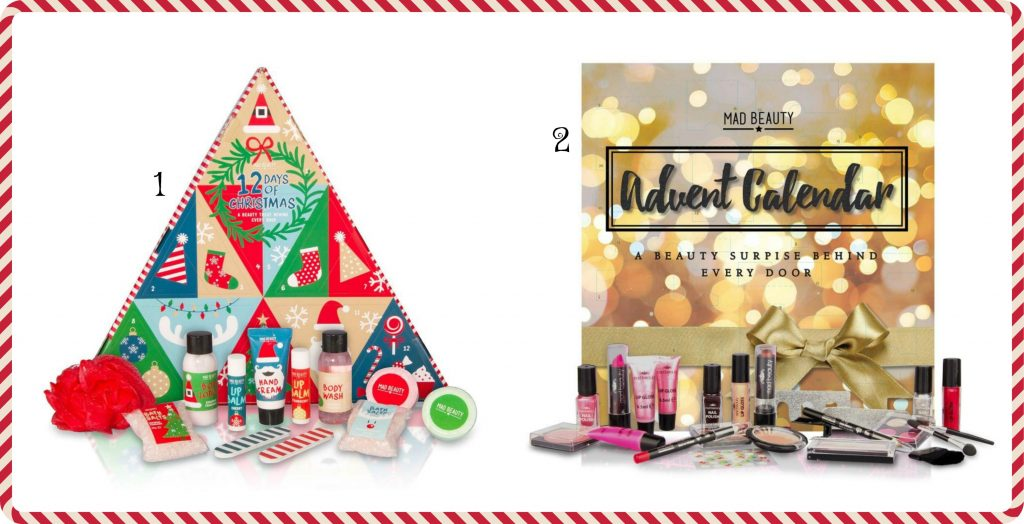 Two beauty advent calendars full of beauty products including nail varnishes, lip balms and eye shadows
