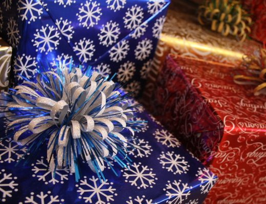 presents wrapped in blue and red wrapping paper