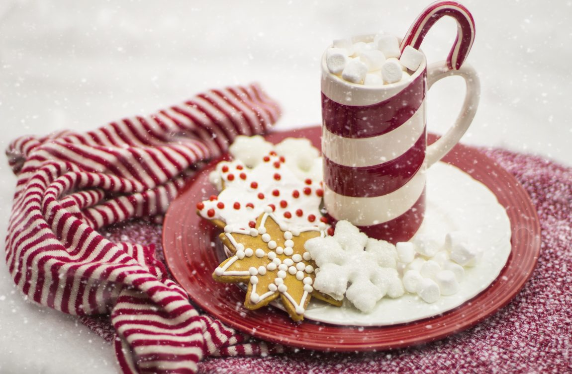 Christmas biscuits and hot chocolate on a red plate