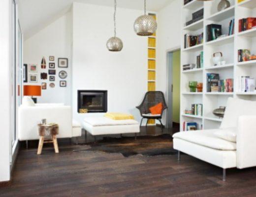 dark wooden flooring in a living room