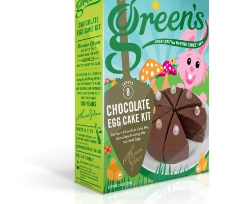 A box of Green's Chocolate Egg Cake Mix