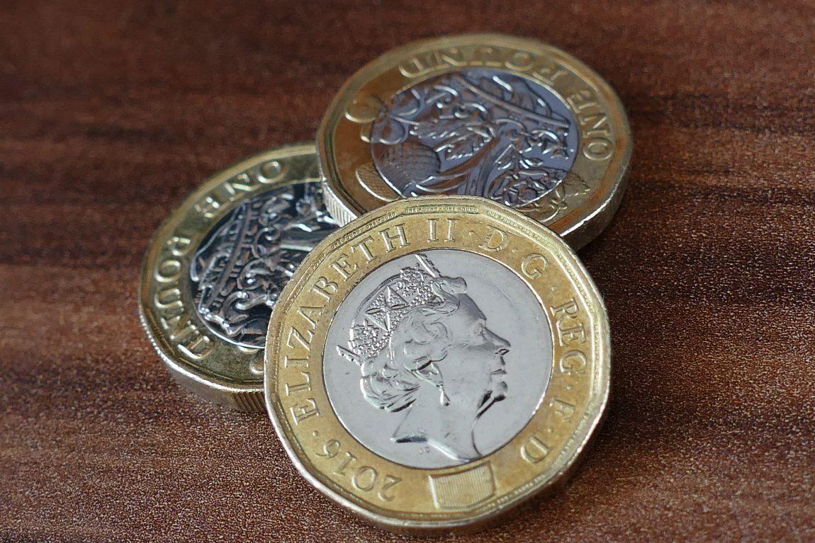 Money - three £1 coins