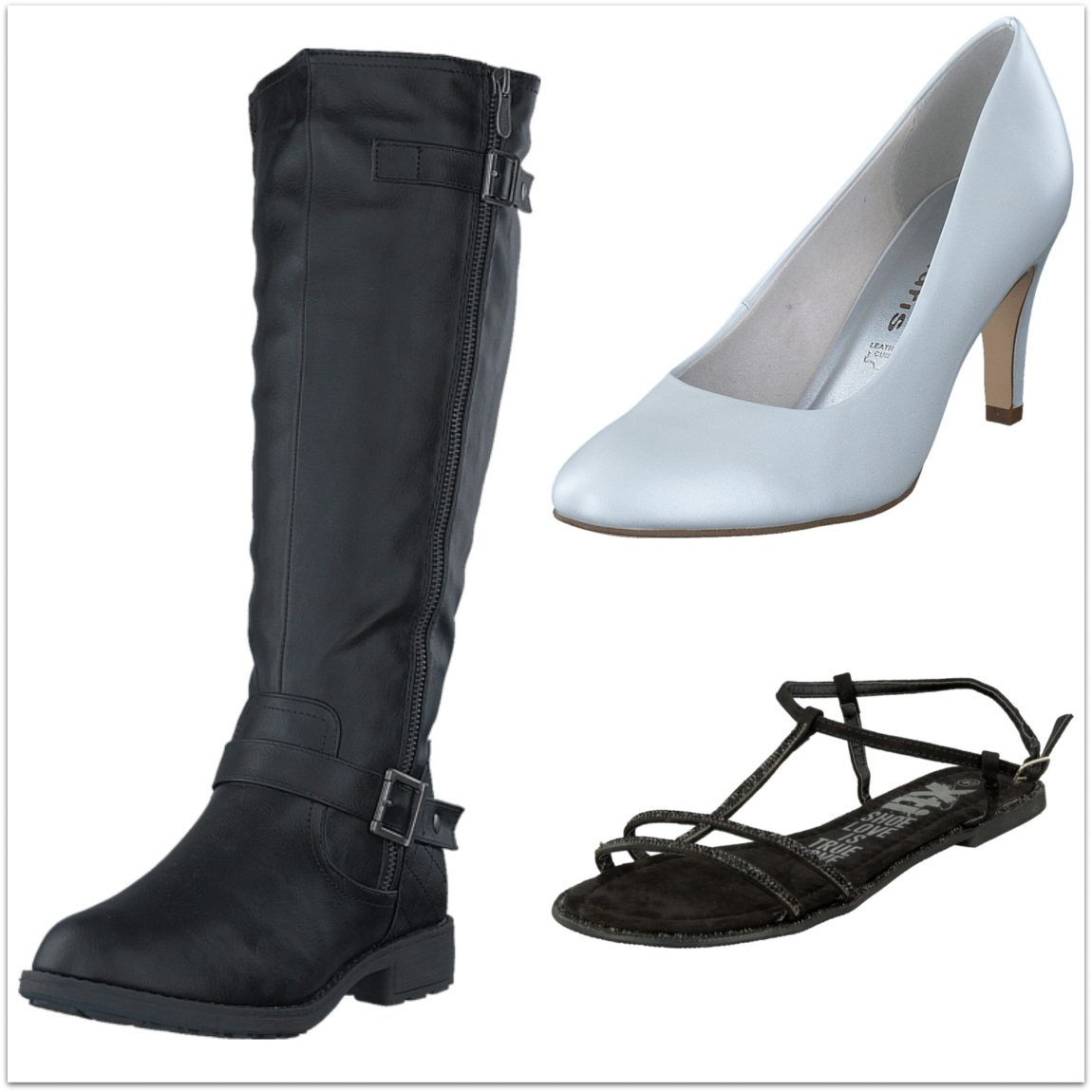 an image showing three pairs of footwear - black calf length boots, white court shoes and black diamante sandals