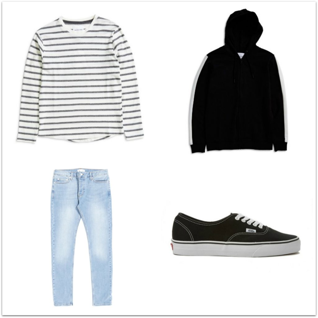 four items of clothing - a long sleeved grey stripey tshirt, a black zipped hoody, a pair of jeans and a pair of black vans trainers