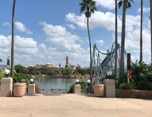 A rollercoaster next to a lake in Orlando