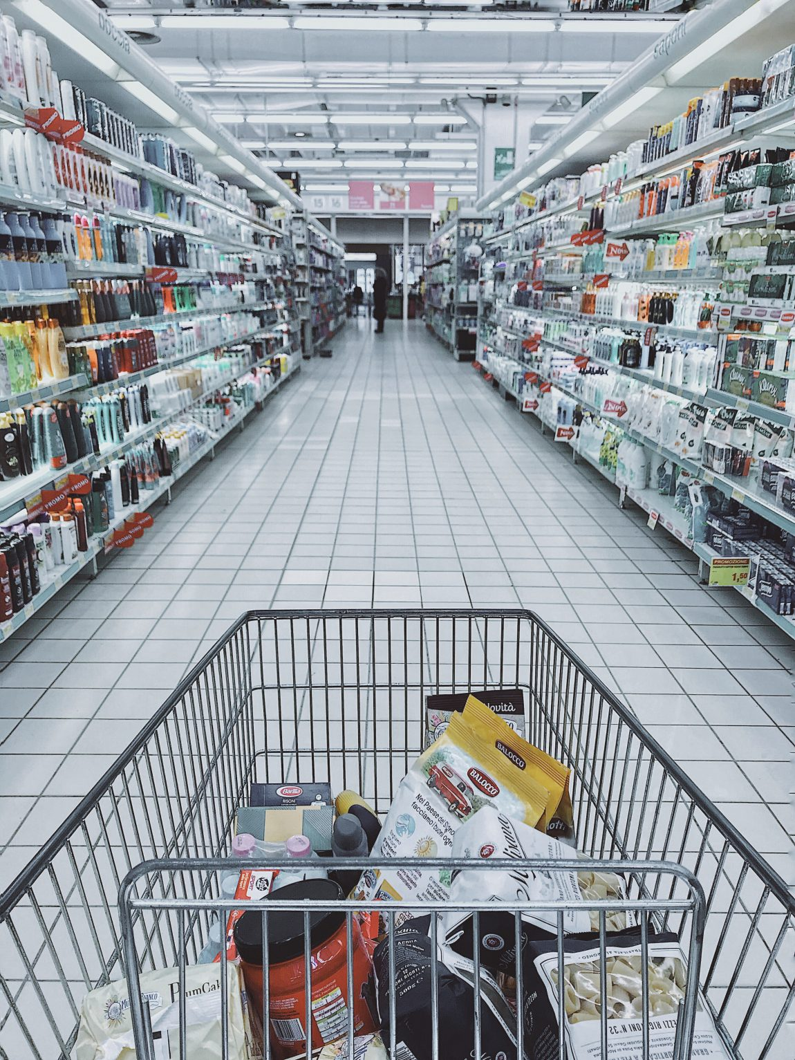 grocery's in a trolley in the supermarket