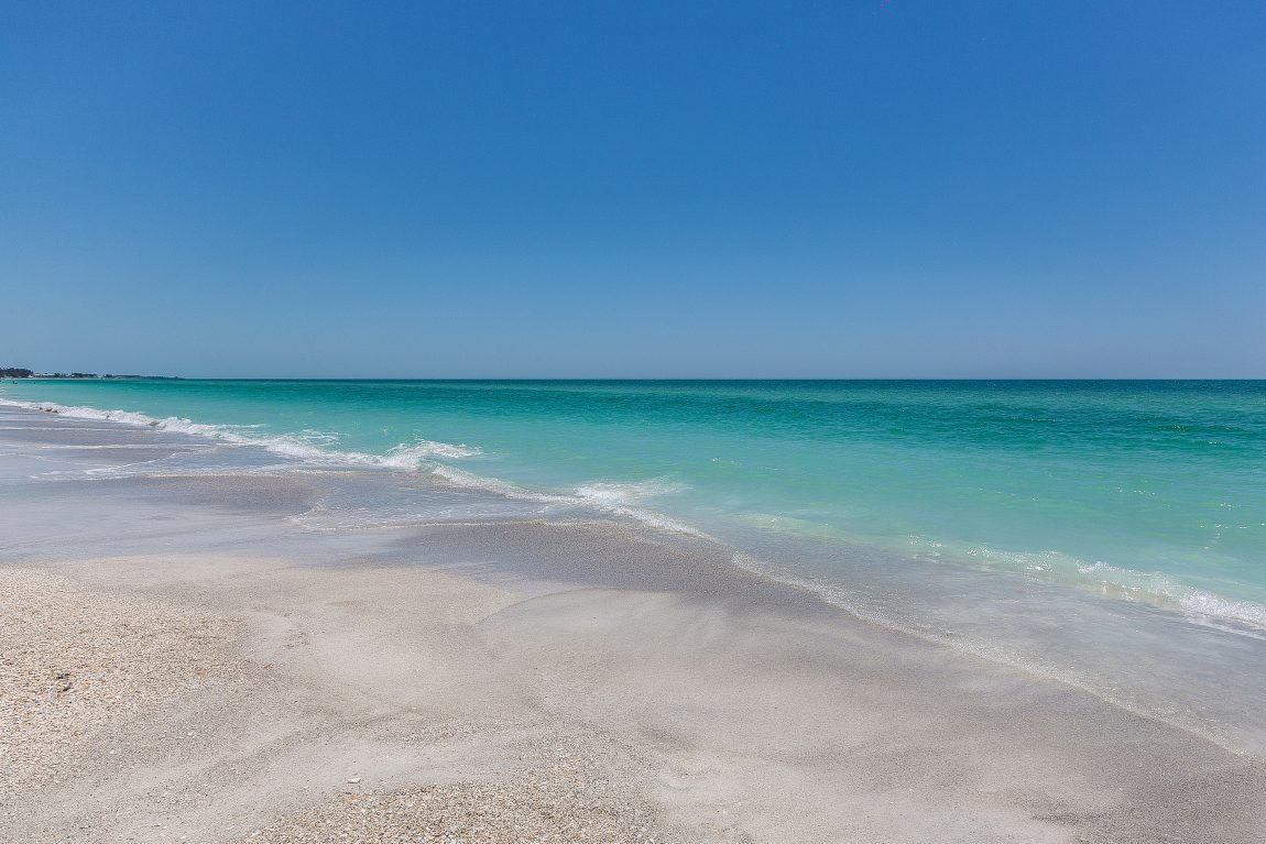 blue skies, sea and sandy beaches