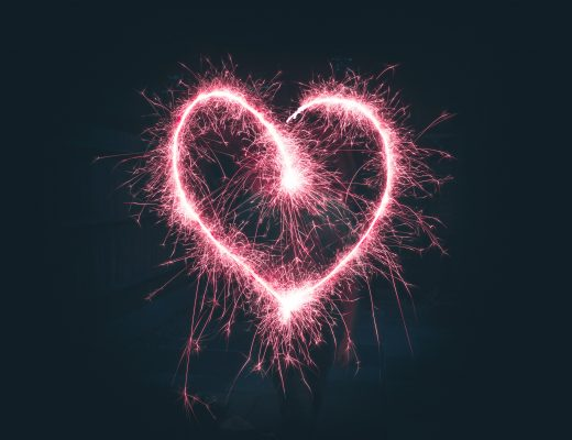 a love heart made from a sparkler