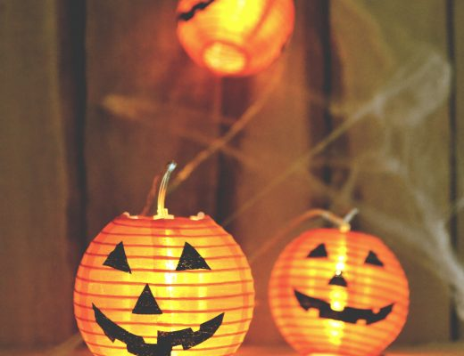 pumpkin type bunting lights for halloween