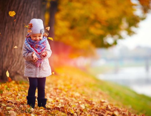 a little girl playing in leaves