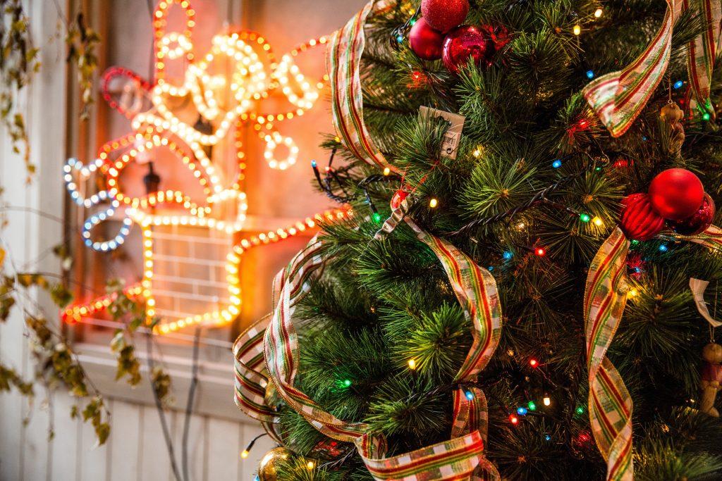 a Christmas tree and festive lights