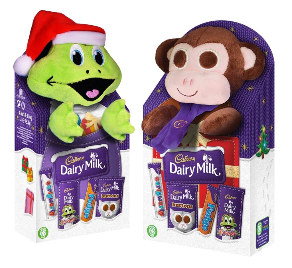 two cadbury selection boxes with soft toys