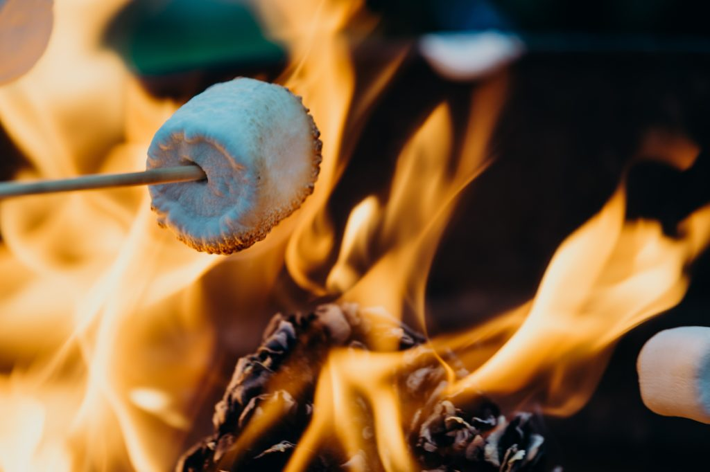 A marshmallow being toasted on an open fire