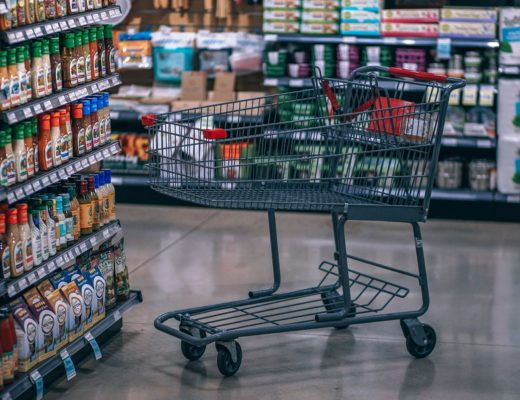 shopping trolley in a supermarket aisle